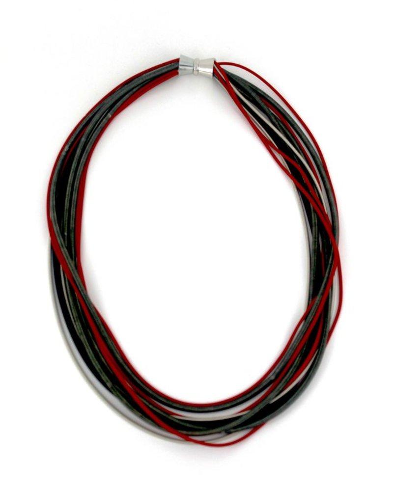 verdigris Red/Black/Silver Multi Strand piano wire necklace