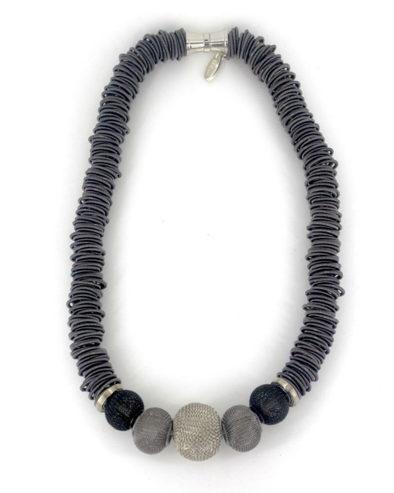 Slate Spring Ring piano wire necklace with Mesh Beads