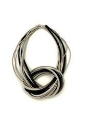 verdigris Rose/Black/Silver Knot pianowire Necklace