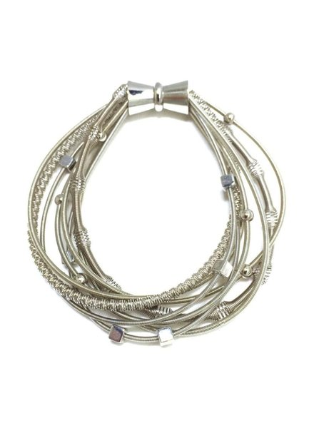 Silver Multi Texture PianoWire Bracelet with Magnetic Clasp