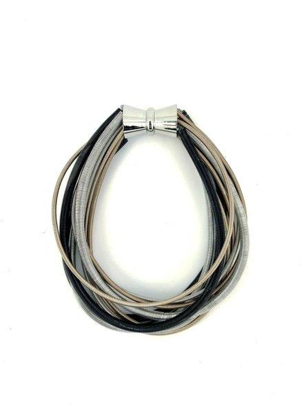 Black/Silver/Rose Multi Strand Bracelet with magnet