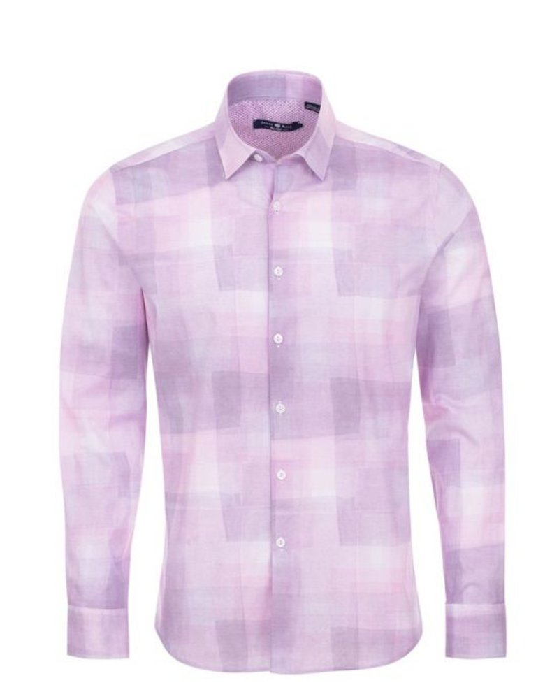 Stone Rose Crinkle Plaid Print Long Sleeve Shirt