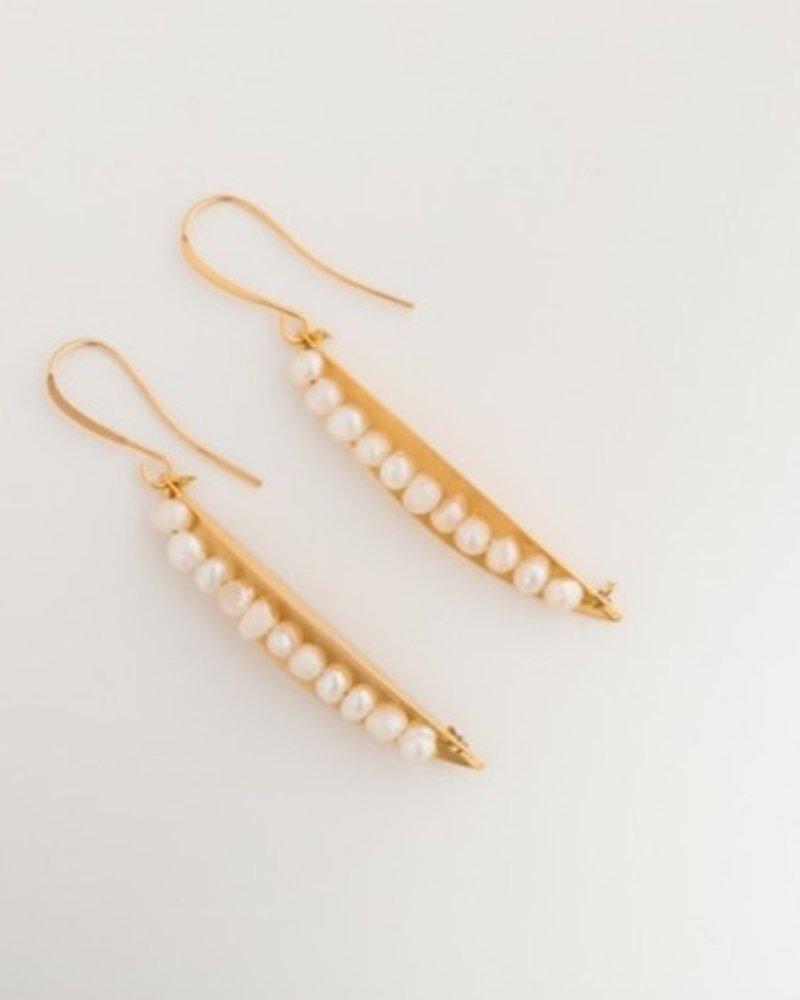 verdigris Pearl pea on a leaf earrings