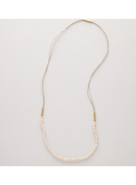 verdigris Long MOP necklace w/goldfield tubes