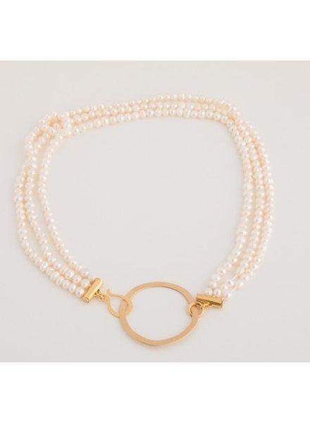 verdigris Triple pearl chain on a karma charm