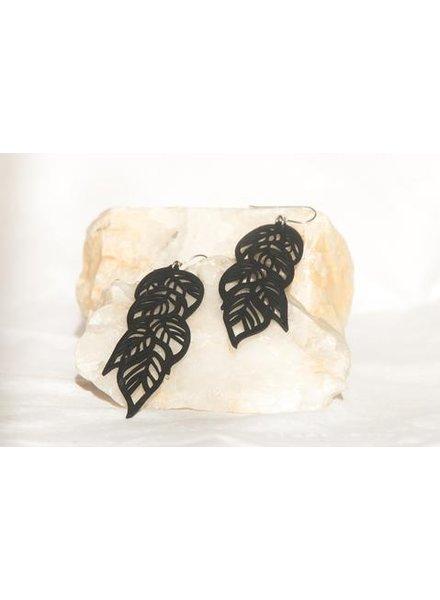 verdigris tropical leaves rubber earring