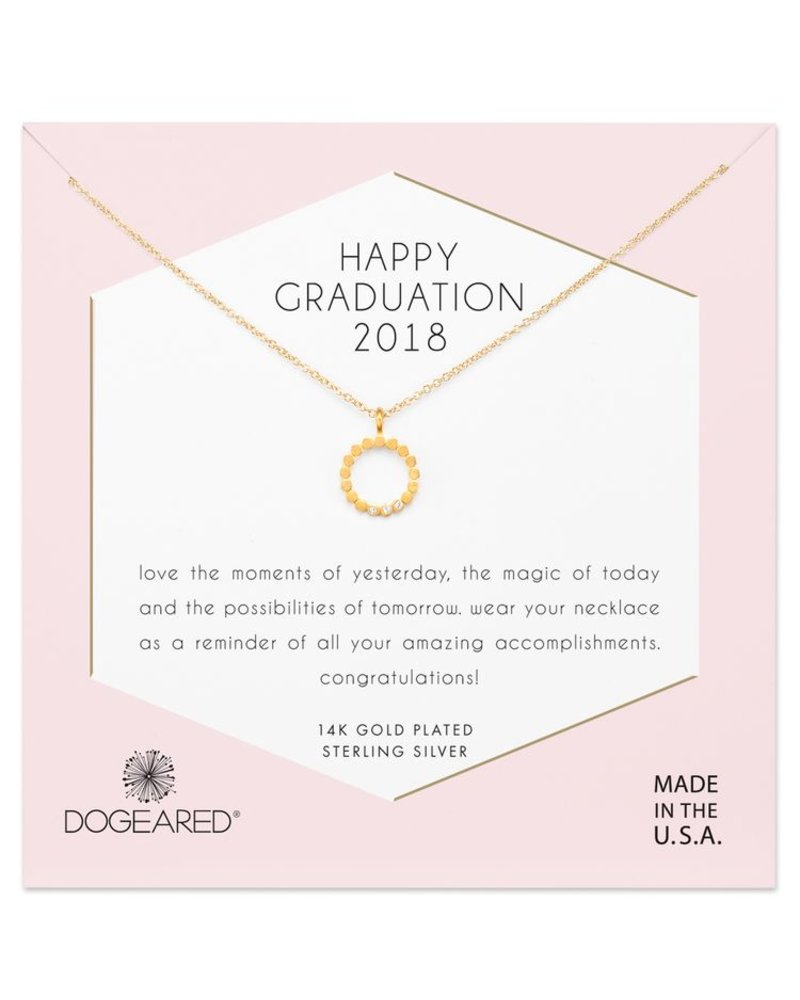 Dogeared Happy Graduation 2018, dotted circle crystal gold necklace
