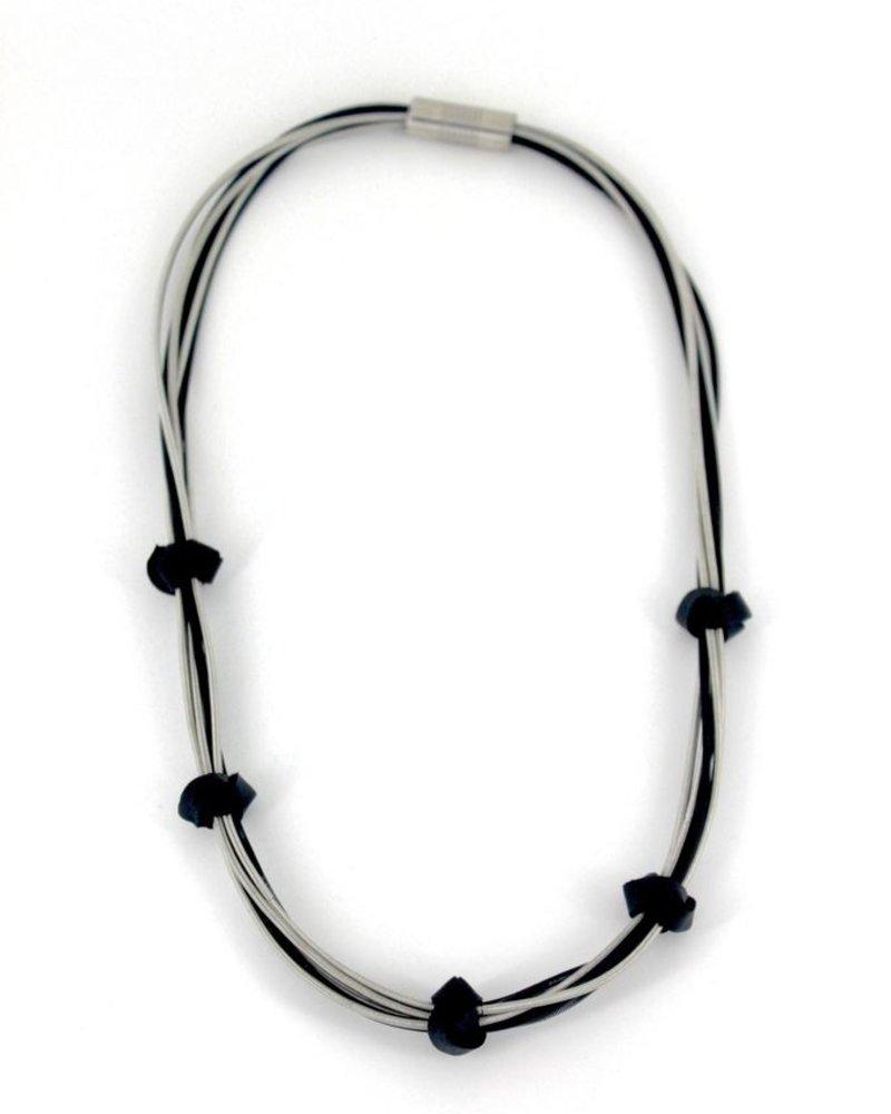 verdigris Strand Silver/Black PianoWire Necklace w/ 5 Leather Knots