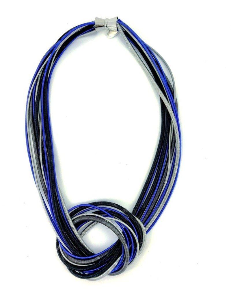 verdigris Blue/Black/Silver Knot PianoWire Necklace