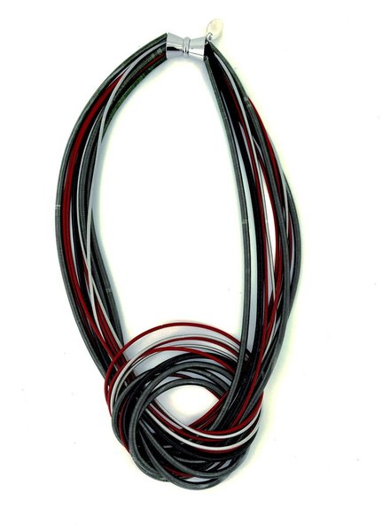 verdigris Red/Black/Silver Knot PianoWire Necklace