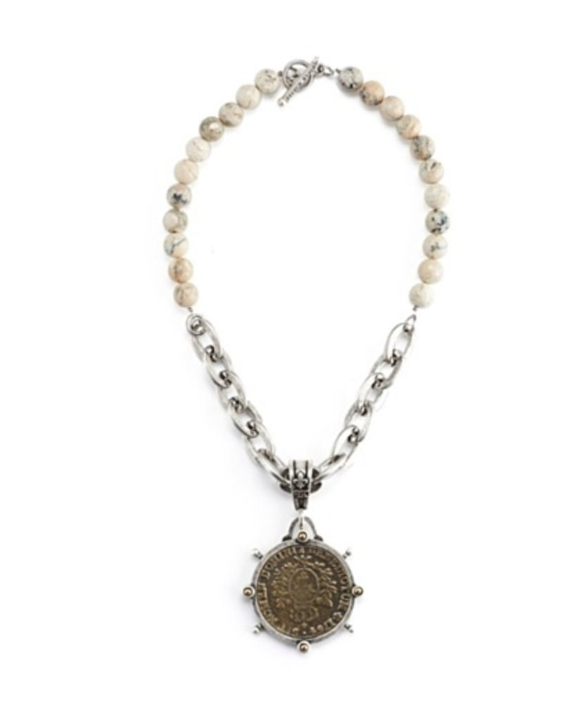 French Kande African Opal with Lourdes Chain and Domini Medallion