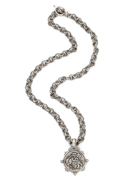 "French Kande Provence 34"" silver chain with A.Zeller Medalion"