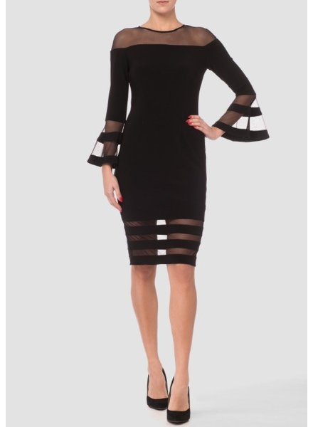 Joseph Ribkoff Full length bell sleeve sheath dress