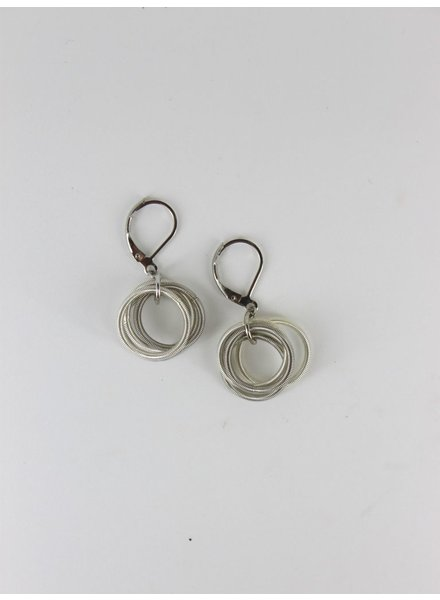 verdigris Silver and White pianowire Loop Earring