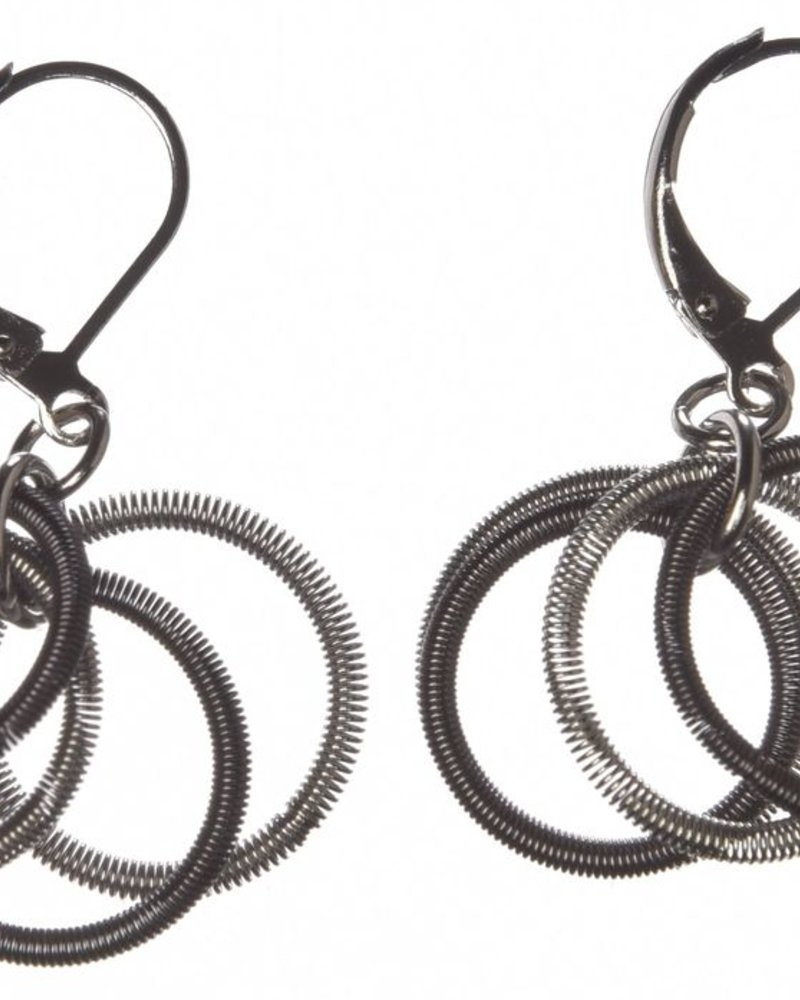 verdigris 4 small Silver & Slate loops piano wire earrings
