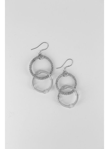 verdigris Small silver double loop piano wire earrings