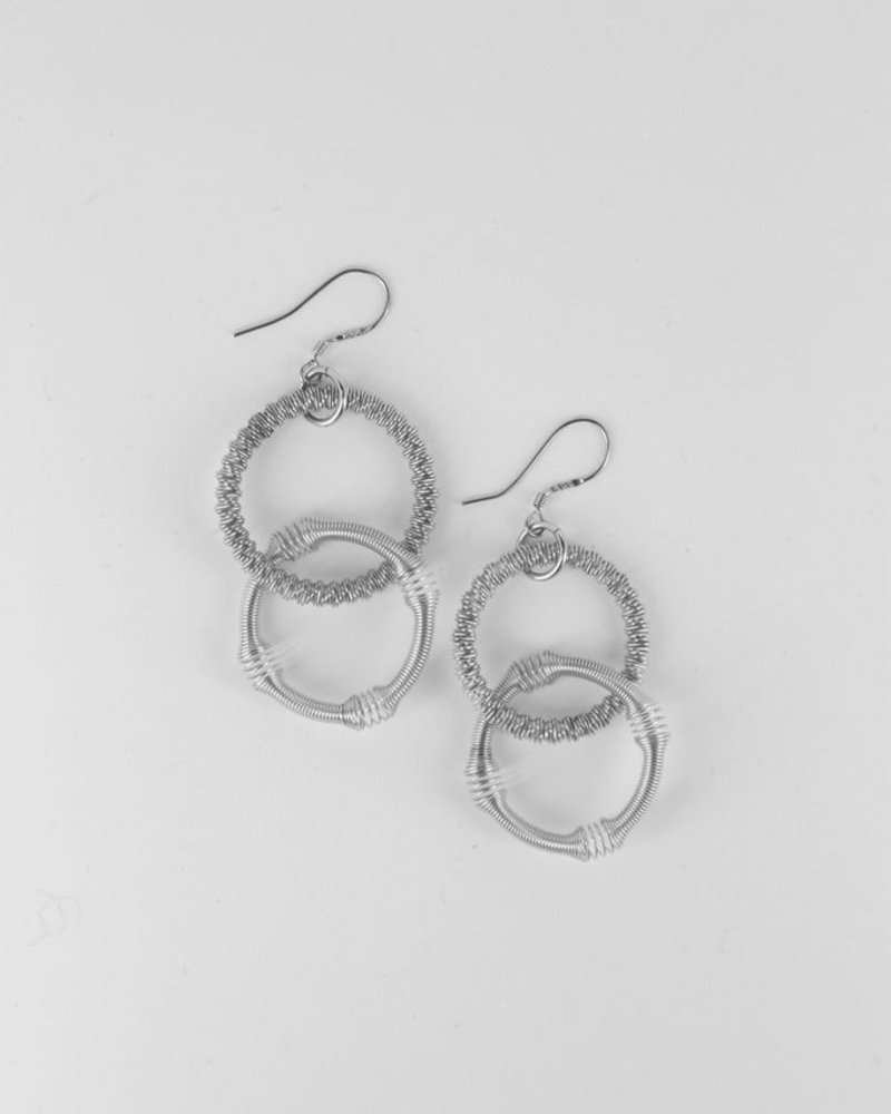 verdigris Small silver double loop piano wire earrings - Verdigris
