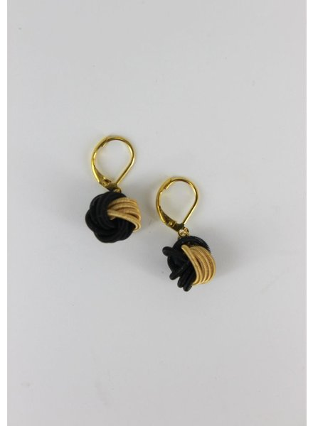 Black/ & Gold Knot PianoWire earrings