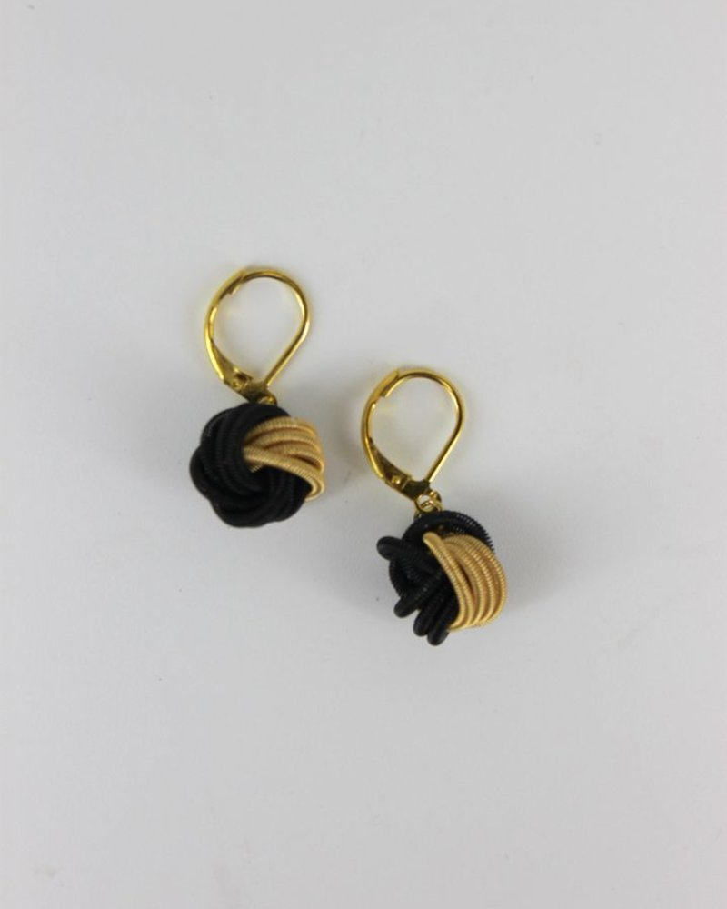 verdigris Black/ & Gold Knot PianoWire earrings