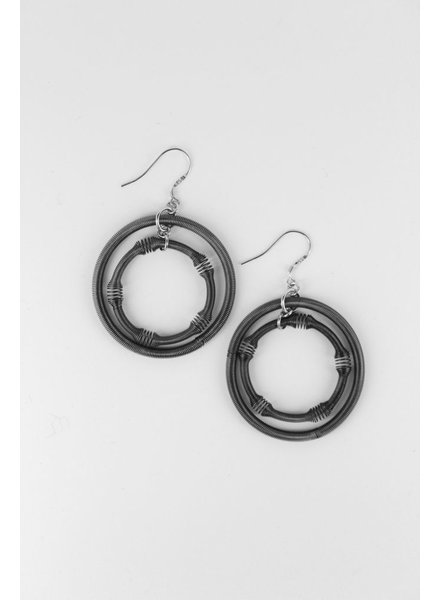 verdigris Large Slate Double Loop PianoWire  Earring