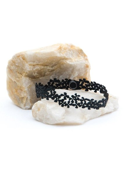 verdigris Choker or Double Wrap Rubber Flower Bracelet