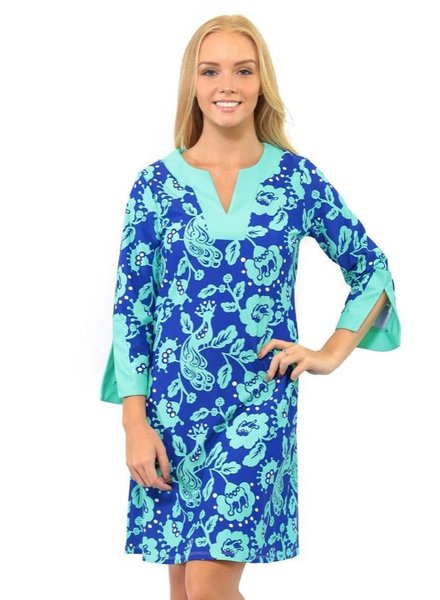 verdigris BIRDS OF A FEATHER PRESCOT LANE TUNIC DRESS