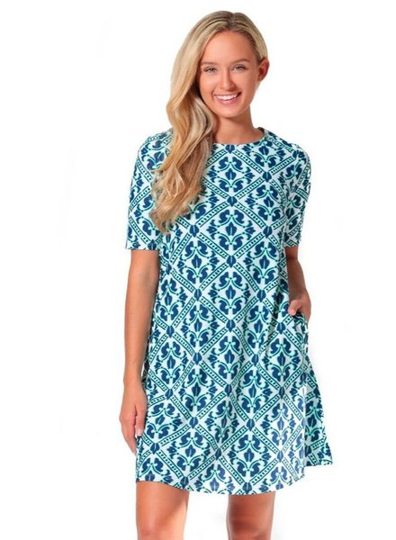 verdigris TRELLIS BAYSHORE LANE SWING DRESS