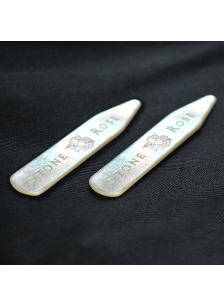 Stone Rose Collar stays, Mother of pearl