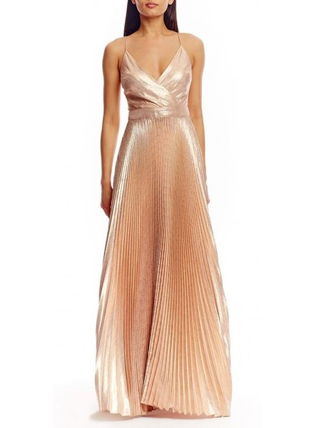 Nicole Miller V-Neck Pleated Gown by Nicole Miller