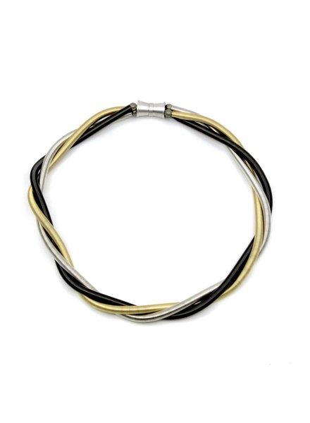 verdigris Mix 3 Strand PianoWire Twist Necklace