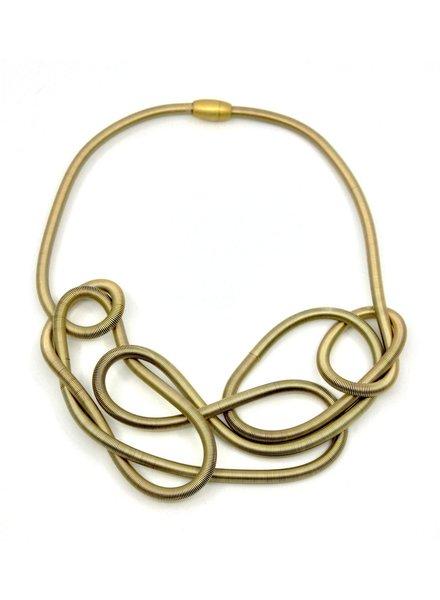 verdigris Gold Chunky Freeform PianoWire Necklace
