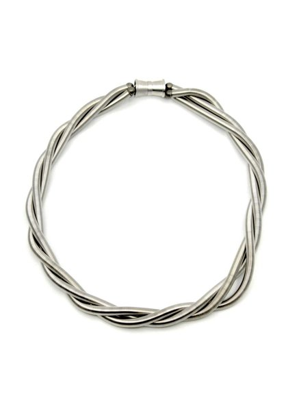 verdigris Silver 3 Strand PianoWire Twist Necklace
