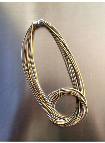 verdigris Piano wire large knot silver/gold multi necklace