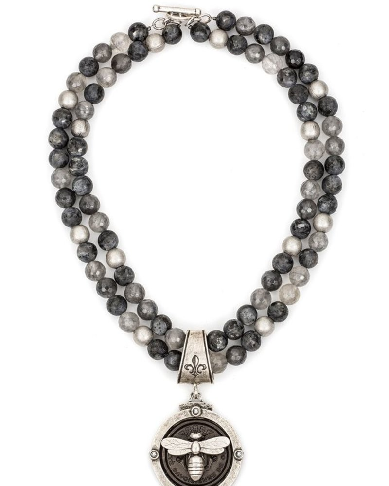 French Kande DOUBLE STRAND SLATE MIX WITH CENTENNIAL MIEL STACK MEDALLION