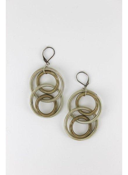 verdigris Silver/Bronze Long Large PianiWire Loop Earring