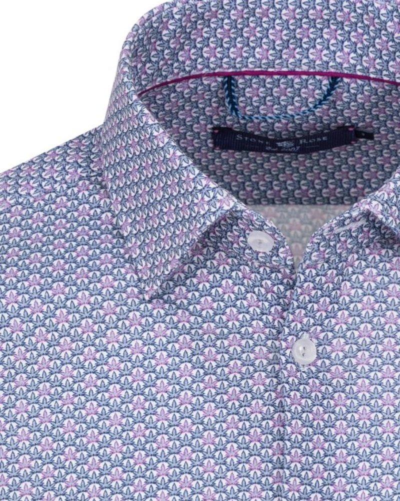 Stone Rose Leaf print button down shirt