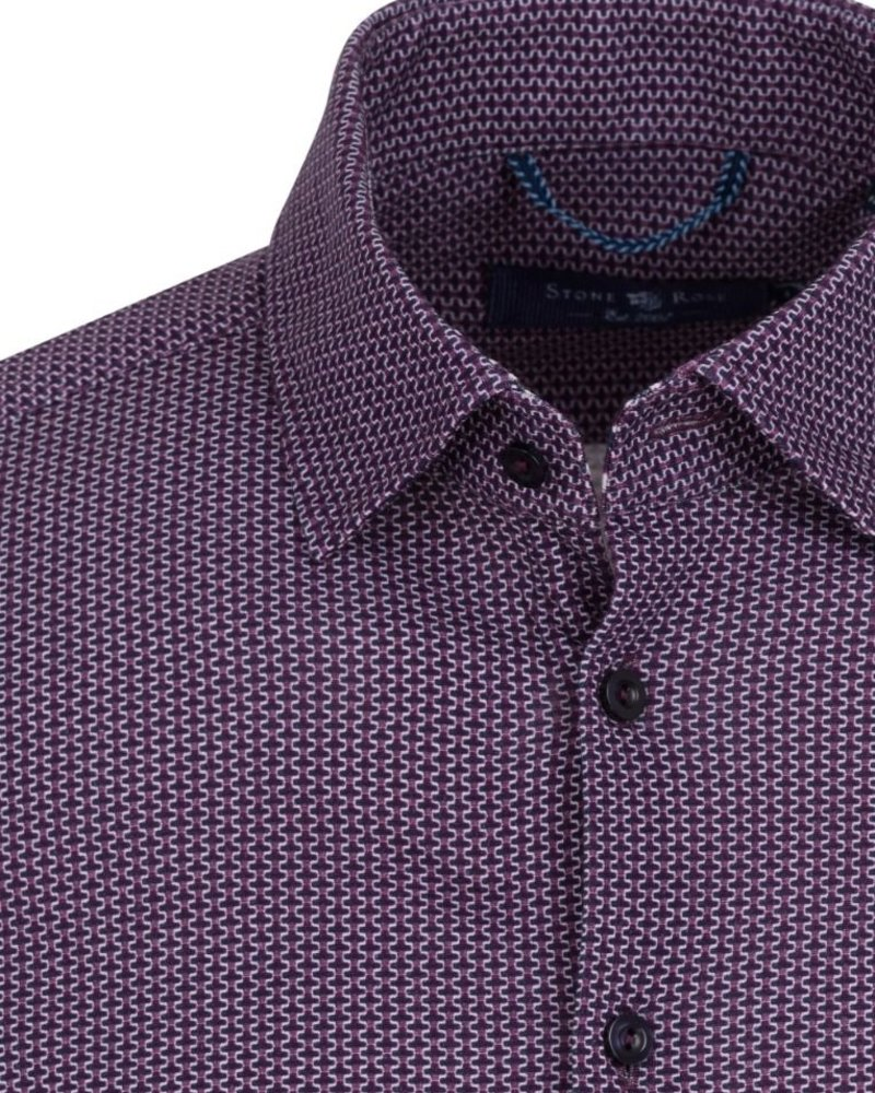 Stone Rose Geometric Knit long sleeve button down shirt