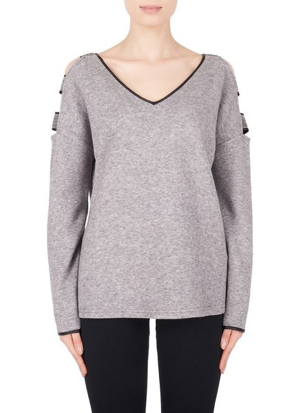 V-neck sweater with metal details