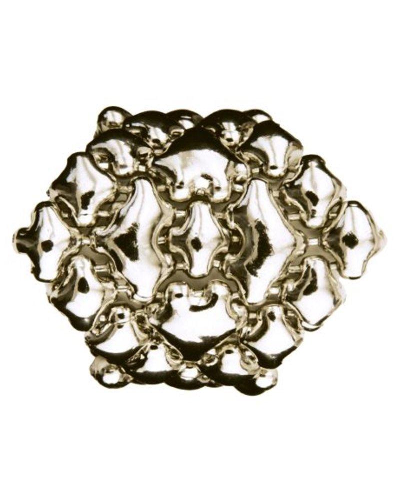 Liquid Metal Silver Mesh Diamond Shaped Ring, size 8