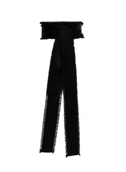 Sara Roka Fringe belt in black