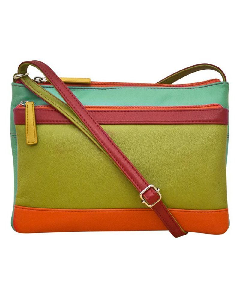 verdigris Leather cross body bag, Citrus