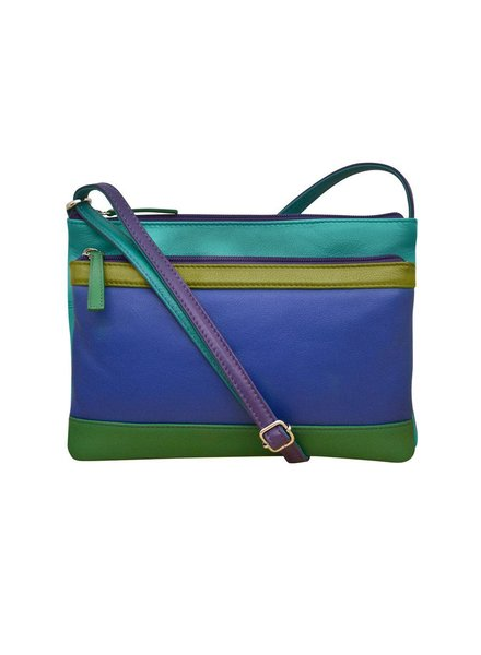 verdigris Leather cross body bag, Cool tropical