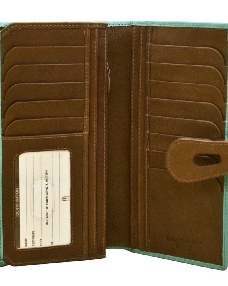 verdigris Leatherwalletwith cut-outtab closure, Turq/brwn