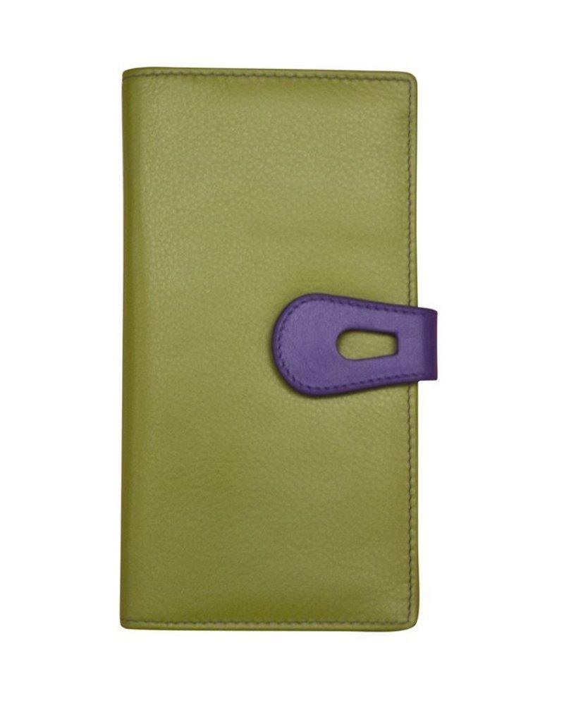 verdigris Leatherwalletwith cut-outtab closure, Moss green/purple