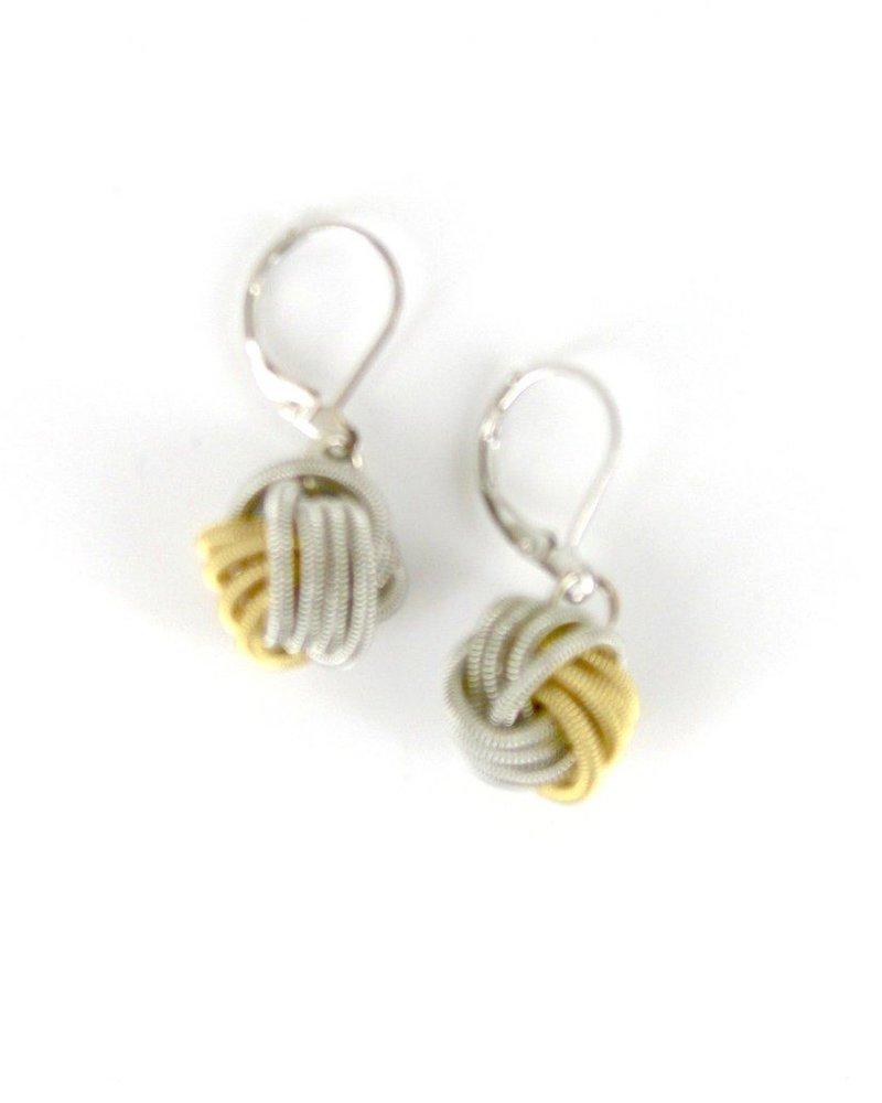 verdigris Silver Gold Multi PianoWire Knot earrings
