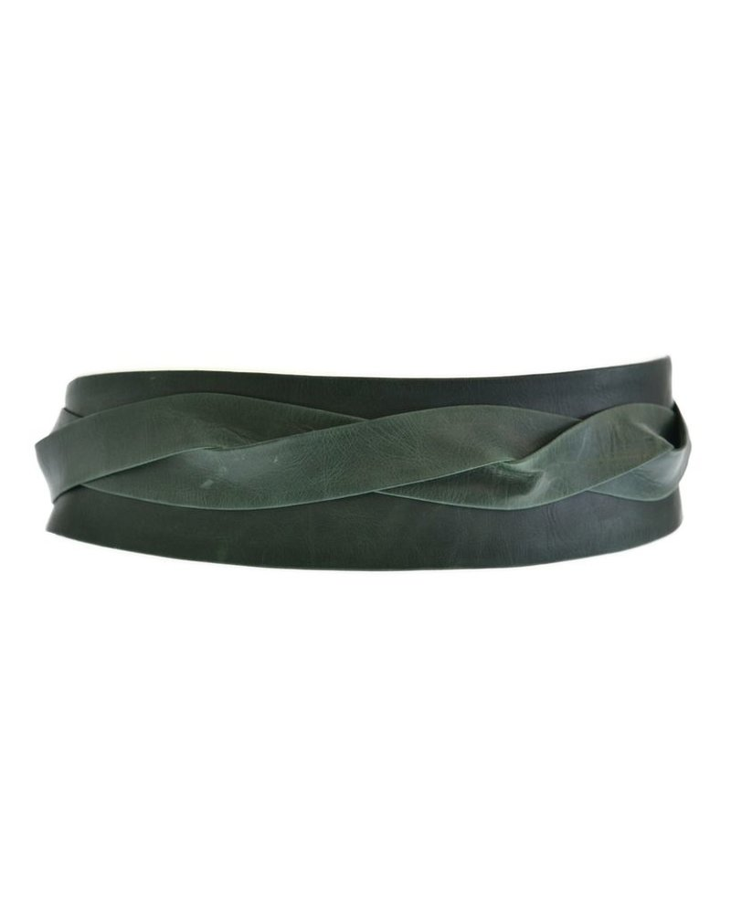 leather wrap belt in Forest Green