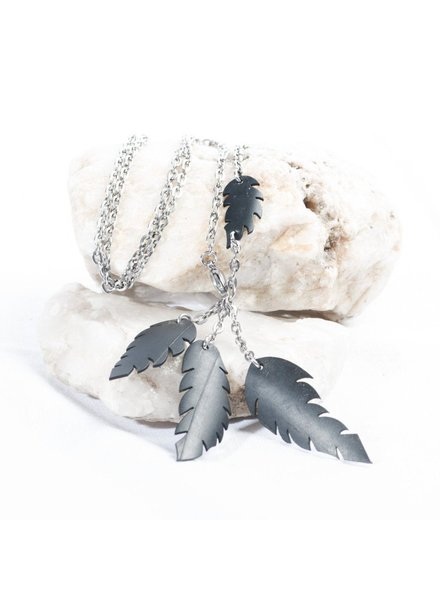 verdigris A-symmetrical feather necklace