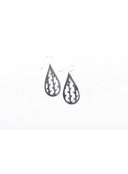 verdigris Tiny vines inside tear drop earring
