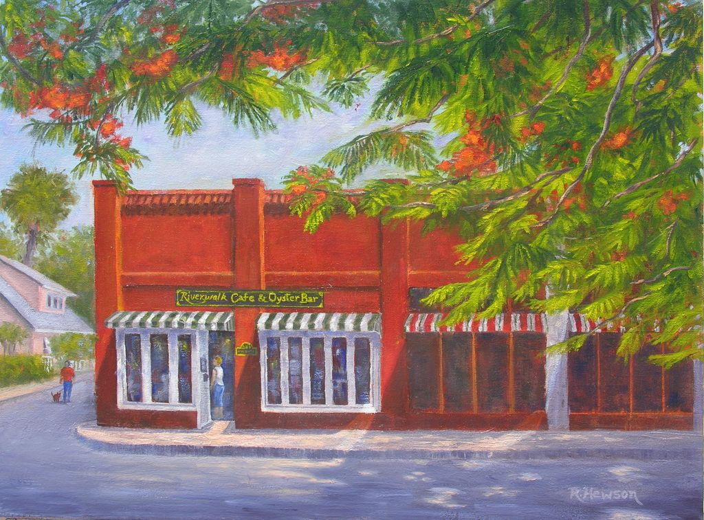 Ruthann Hewson Riverwalk Cafe (Print, Matted, 11x14)