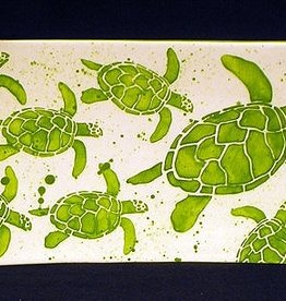 """Rare Earth Gallery Platter, Sea Turtle Mother and Babies (Green, Lg, 15.5"""" x 7.5"""")"""